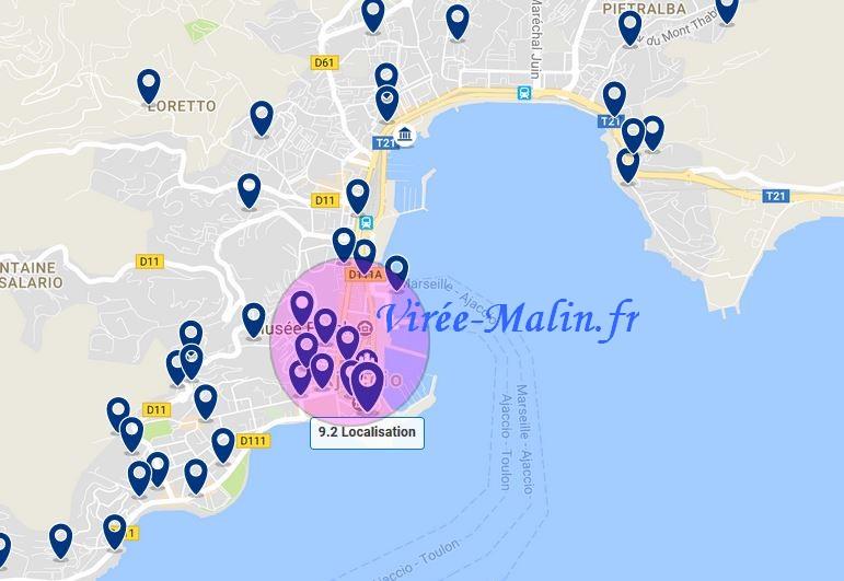 Carte Corse Ajaccio.Visiter Ajaccio Et Ses Environs