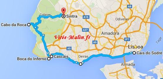 rejoindre-cascais-depuis-lisbonne-googlemap