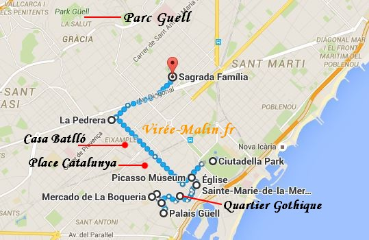 GoogleMap Plan Visite Barcelone