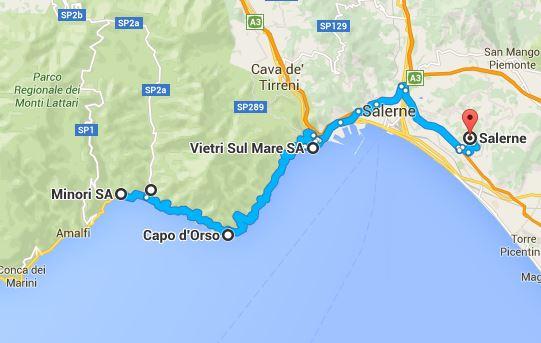 Plan De Route Cote Amalfitaine Italie