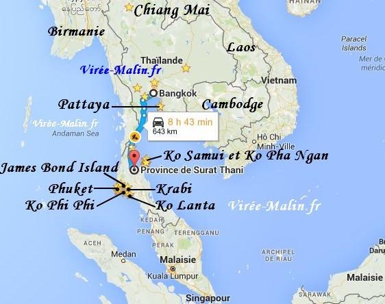 Carte Thailande Sud Ouest.Visiter La Thailande 2 Semaines