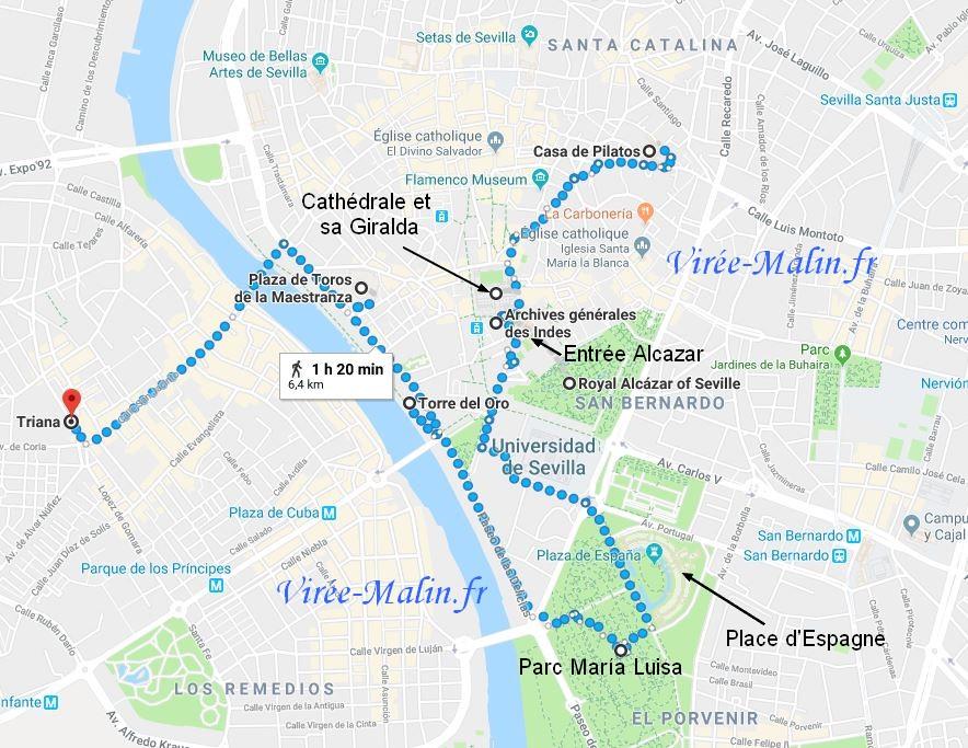 Plan Visite Seville Googlemap
