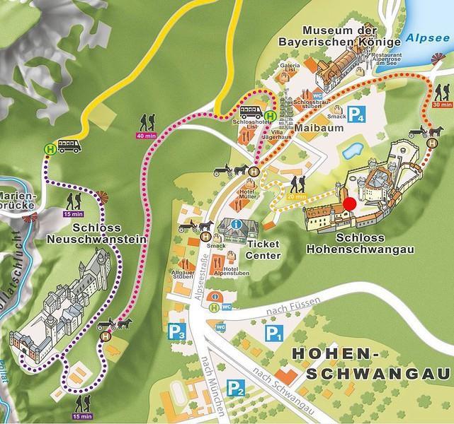carte-chateau-visiter-Neuschwanstein-Hohenschwangau