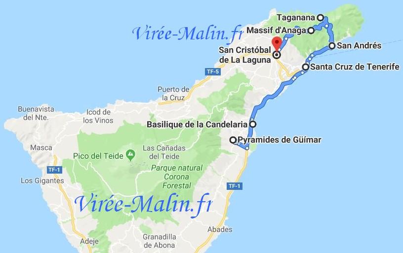 Carte Tenerife.Visiter Tenerife En 5 Jours