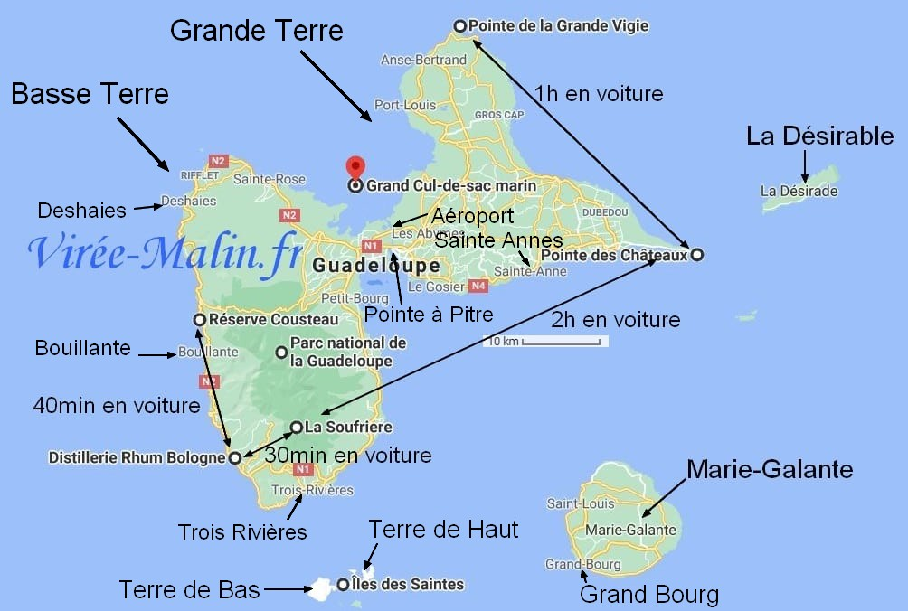 que-faire-Guadeloupe-googlemap-grande-terre