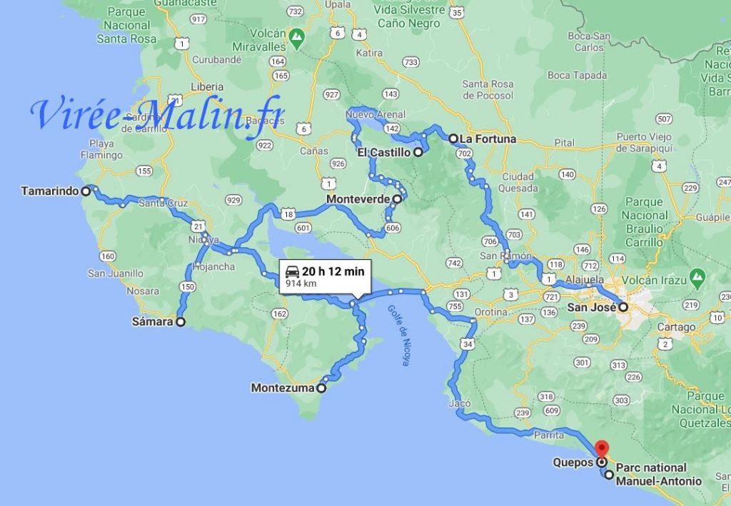 carte-circuit-route-costa-rica-10-15-jours